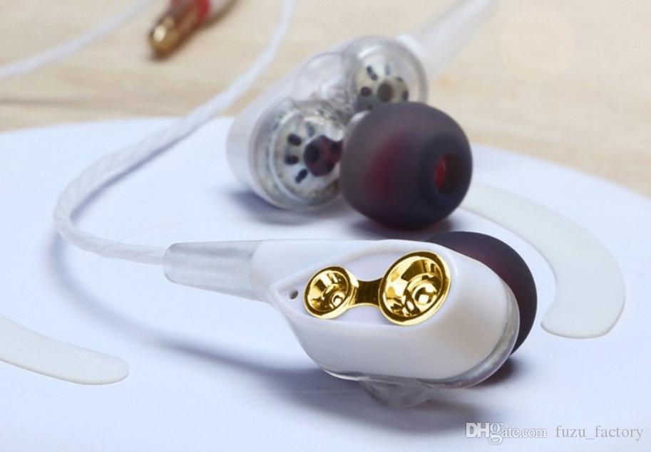 Os mais recentes In-Ear Stereo quad-core fone jogo dual-Motion Sports bobina móvel fone de ouvido 3,5 milímetros auscultadores com microfone headset com fio HIFI