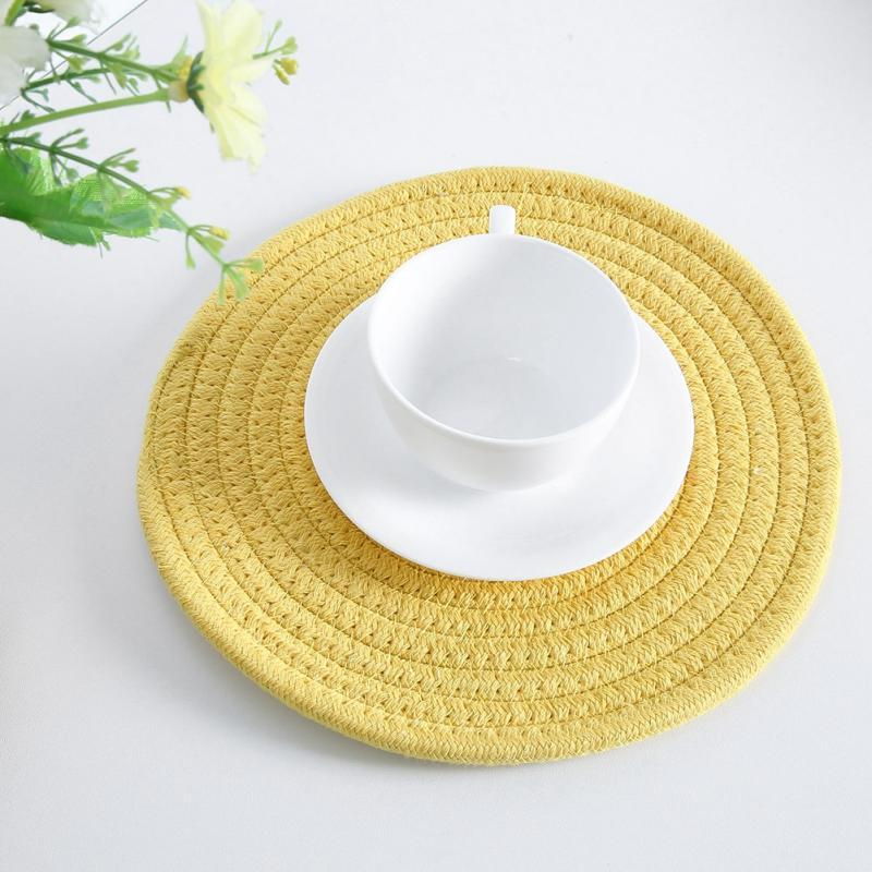 Simple Style Round Weave Placemat Table Mats Dining Napkin Pads Non-Slip Heat Resistant Coaster Cushion For Kitchen Table