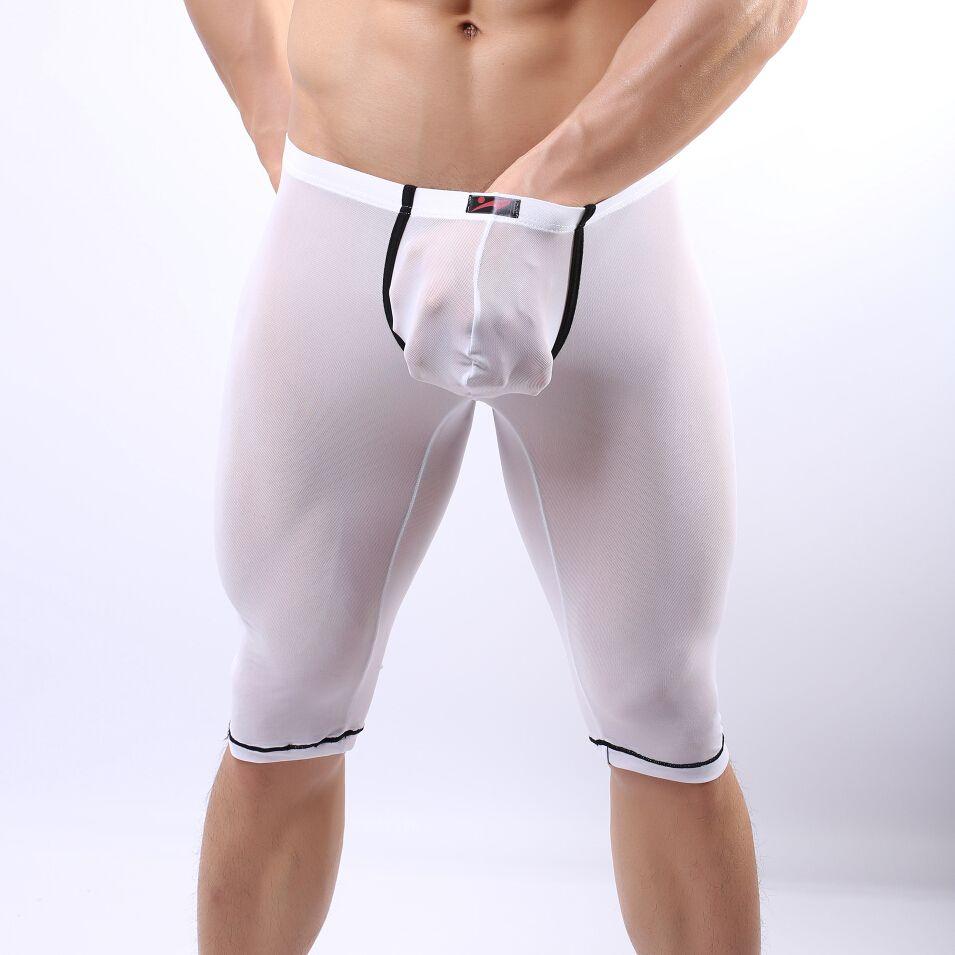 ed887ec5d6aba Lonjo Men's Underwear Boxers Sexy Mesh Gauze Long Johns/Men's High  Elasticity Thin Sleepwear Comfy Slip Leggings Sexy Pajamas