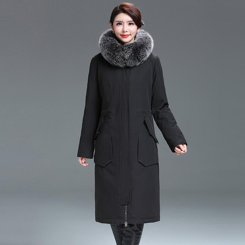 a451c1829989 Fashion Women Thicken Down Jackets Big Fur Collar Hooded Long Down ...