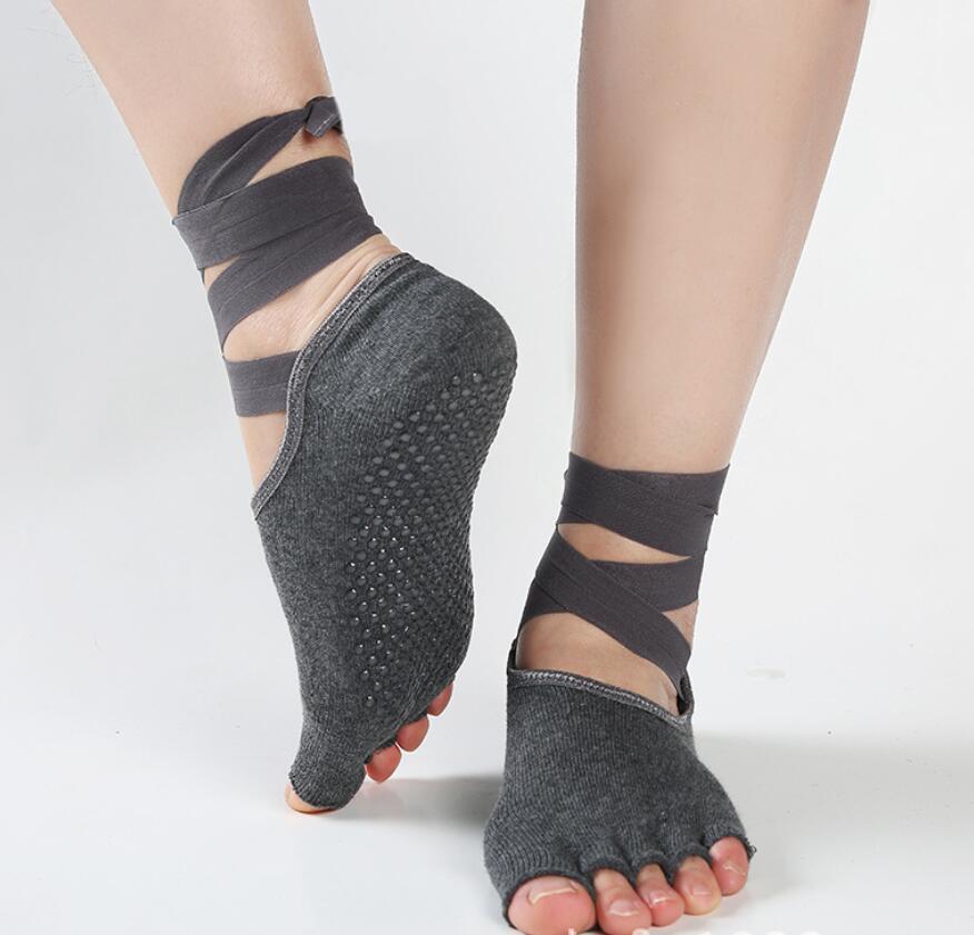 ba4401501ab 2019 Women Yoga Anti Slip Socks Toe Socks Five Toes Silicone No Slip 5  Bandage Open Toe Yoga Women Cotton M18 From Wavewind