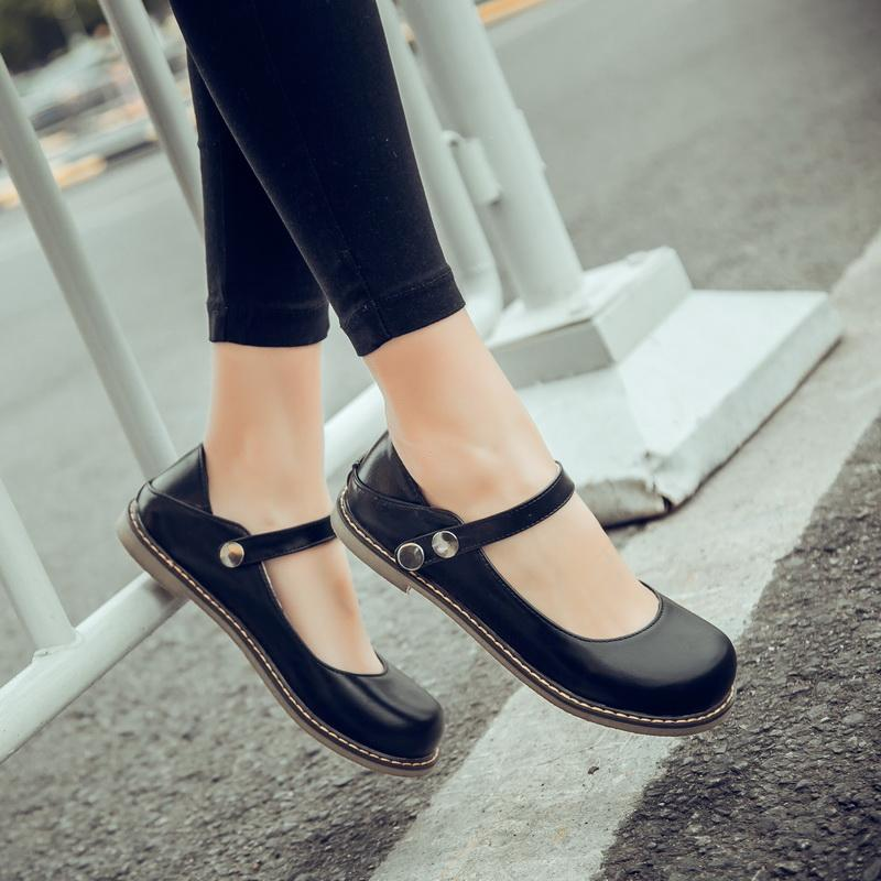 f4d77078175 Summer Sweet Closed Toe Flats Shoes Footwear Mori Girl Style Women S Ankle  Strap Mary Janes Shoes Retro Black Larger Size Mens Sandals Dress Shoes  From ...