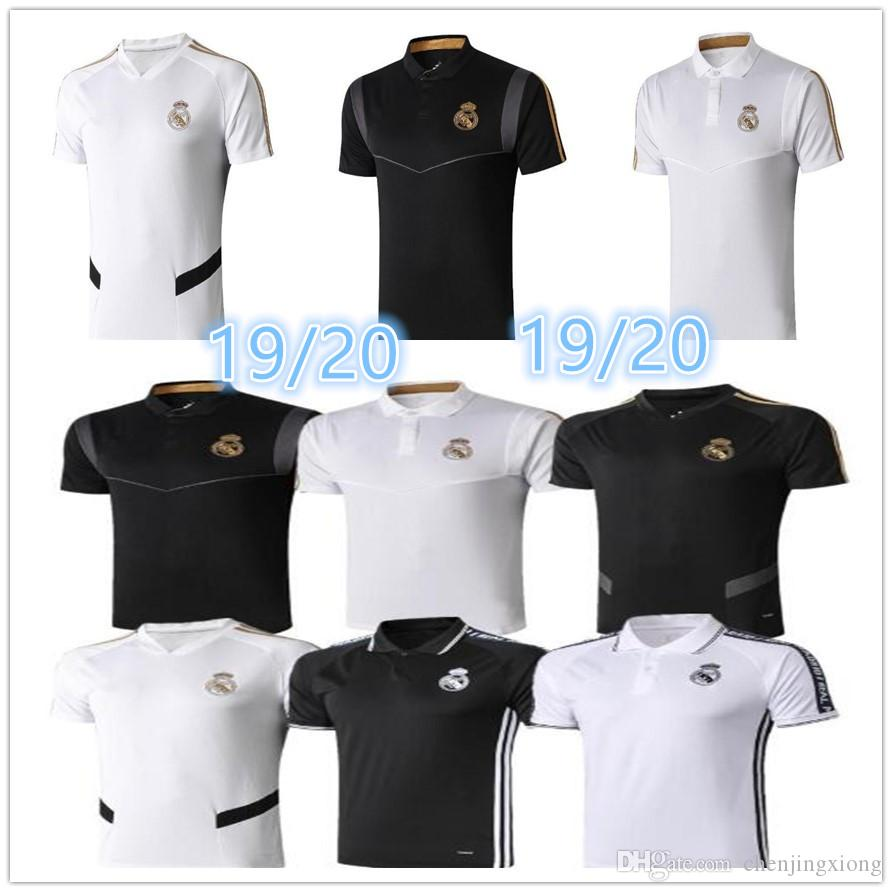 2019 Real Madrid Polo White Soccer Jersey 19/20 Real Madrid HAZARD Black POLO Shirt RAMOS MODRIC ASENSIO ISCO Football POLO Uniforms