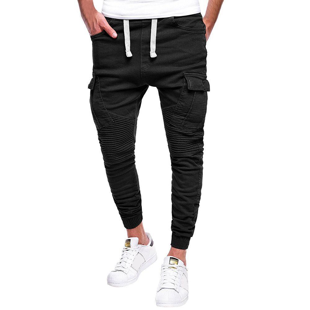 34a9cef4f4409 Surdimensionné 4xl Homme Mode 2019 Pantalon Hommes Pantalon Poche  Streetwear Hommes Lashing Ceinture Vêtements de Fitness Hommes Fashions  Pantalon ...