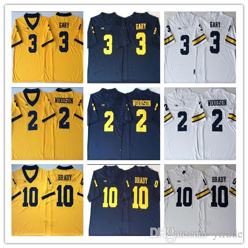 official photos 647b5 9a1bf NCAA Michigan Wolverines Jerseys 3 Rashan Gary 10 Tom Brady Jersey 2  Charles Woodson College Football Jerseys Stitched