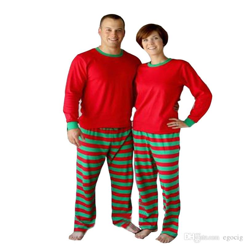 Christmas Pajamas Set Adult Women Men Striped Sleepwear Xmas Deer Nightwear Clothes Matching Family Outfits set