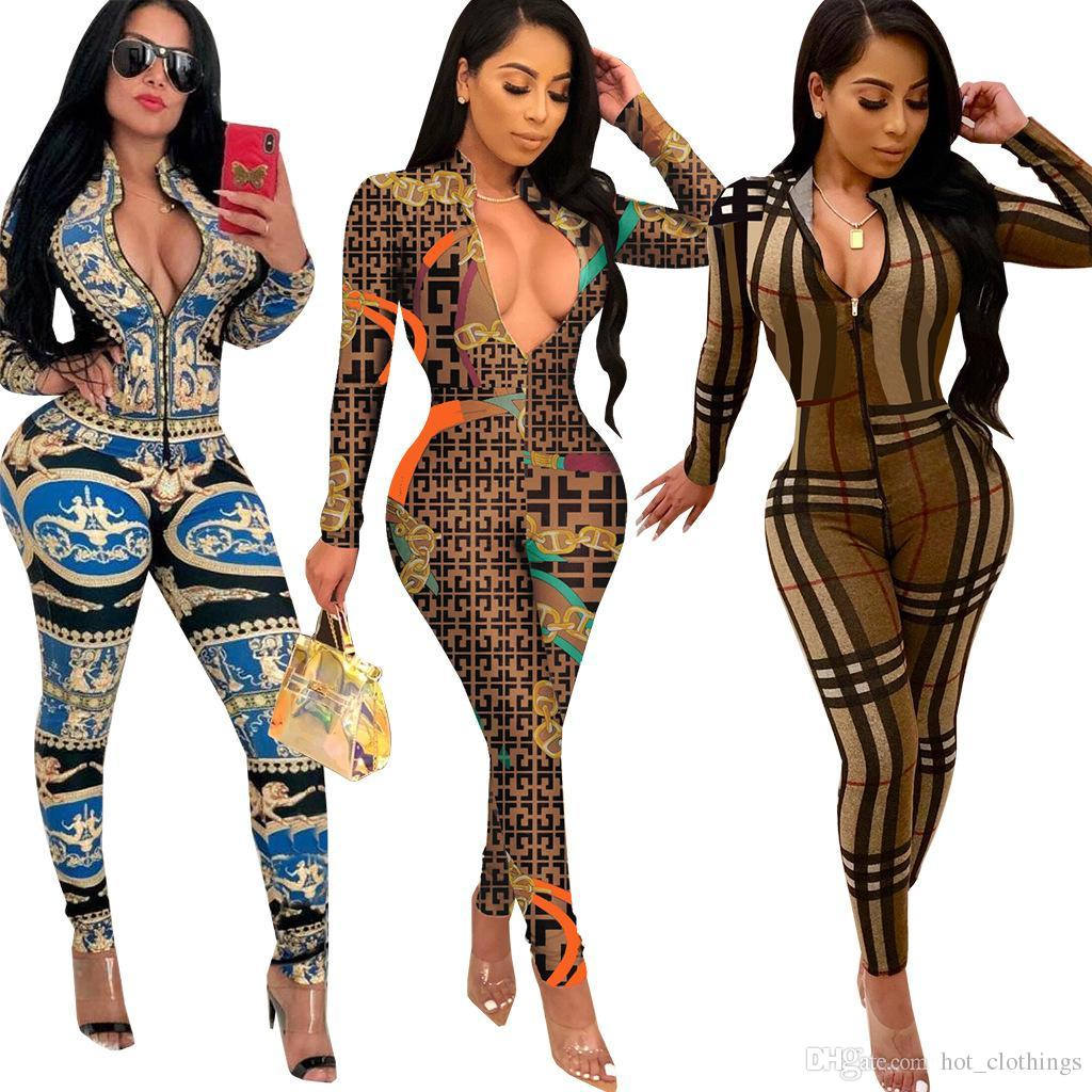 Women's Clothing Top Fashion Women Rompers Sexy Long Sleeve Vintage Print Overalls Skinny Full Length Party Rompers Women Jumpsuit 3566