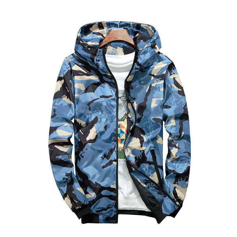 Camouflage Jacket Student Hooded Sports Jacket Men Fashion Holiday Camo Hooded Sun Protection Military Jacket Parka Streetwear Clothing