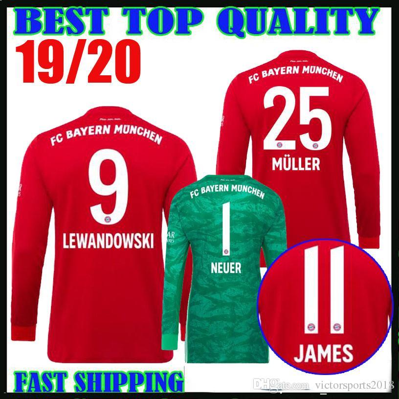 d327bc19506 2019 19 20 Bayern Munich Long Sleeve Soccer Jerseys Home Red LEWANDOWSKI  MULLER 2019 2020 Champions League JAMES Goalkeeper NEUER Football Shirts  From ...