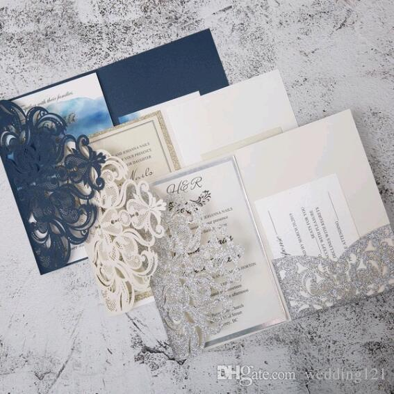 Pearl White/Ivory/Pink/Navy Blue/ Tri Fold Vertico pocket Laser Cut Vine Wedding Invitations Cards Hollow Carving Greeting invites Engagemen