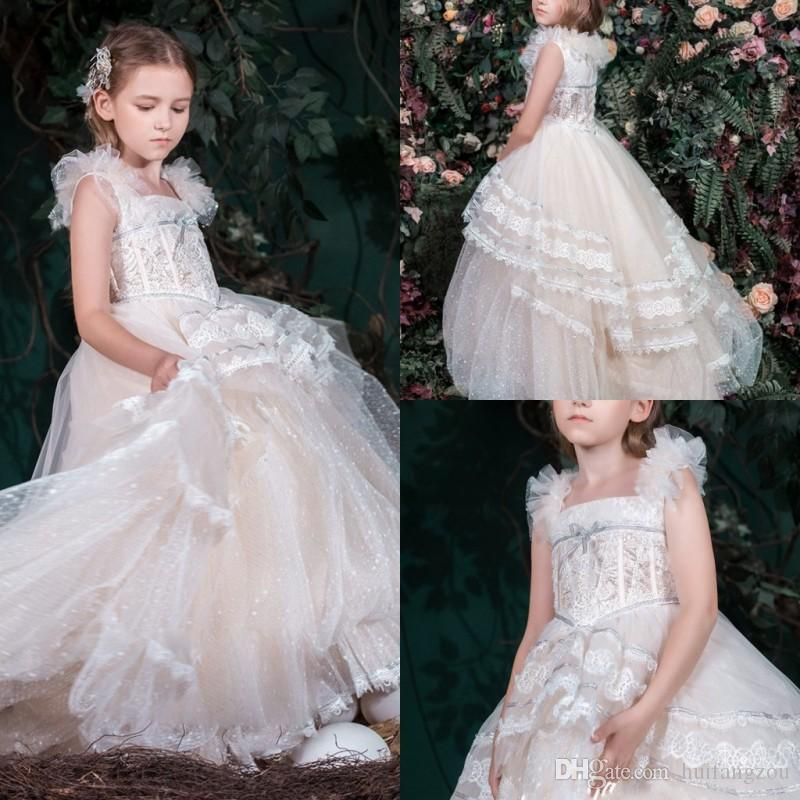 3b051c24e4f9c Pretty Princess Flower Girl Dresses For Wedding 2019 Square Neck Lace Tulle  Pageant Gowns Kids First Communion Dresses Beautiful Flower Girl Dresses ...