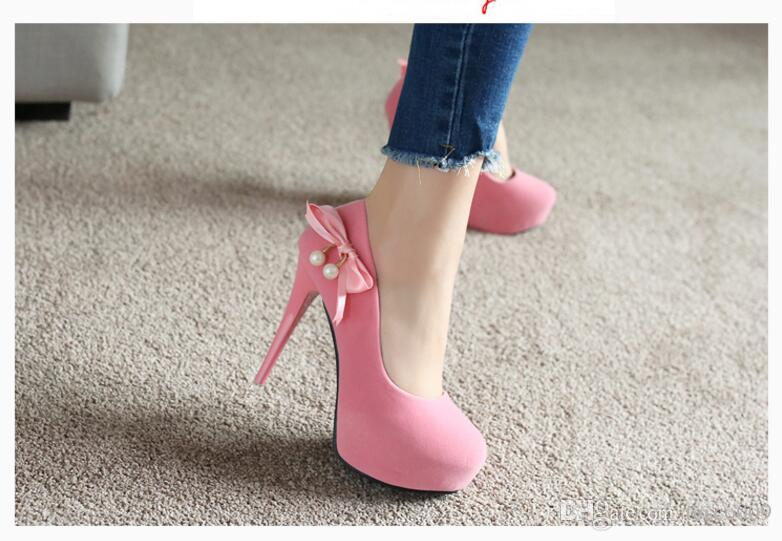 00ac8c3346 Pink suede princess high heel women's fine with round head sweet red  wedding shoes 12 cm shallow mouth super high heels size 34-39