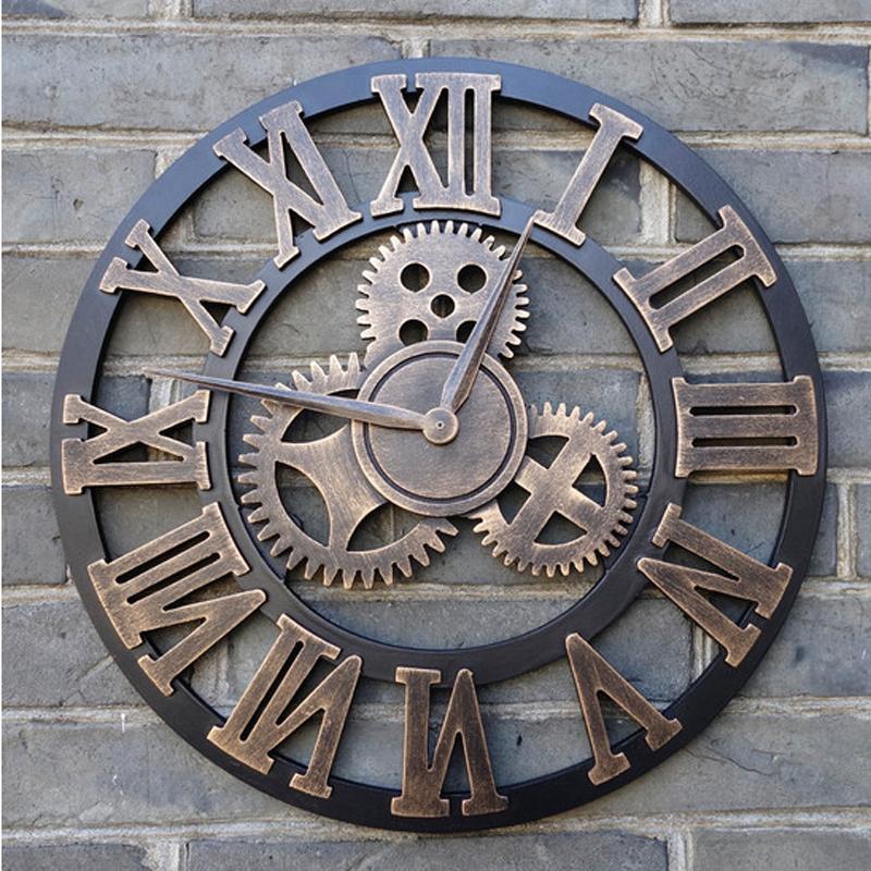 ffaf7946596 Compre Handmade 3D Retro Relógio De Parede De Luxo Do Vintage Engrenagem De  Madeira Saat Relógio De Parede Algarismos Romanos De Design Para Casa Sala  De ...