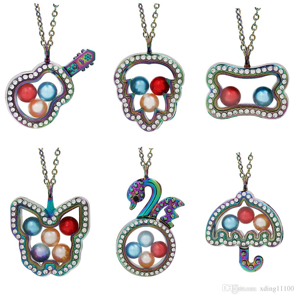 Magnetic Muticolor Owl Life Tree More Style Glass Living Memory Locket Pendant Pearl Cage Floating Charms Pendant Necklace With Steel Chain