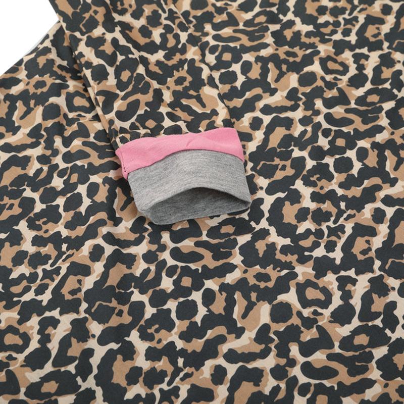 Léopard Imprimer T-shirt pour les femmes O-cou à manches longues Splice Tunique Tee Shirt Femme Casual Dames Tops Pulls Brown chemise femme