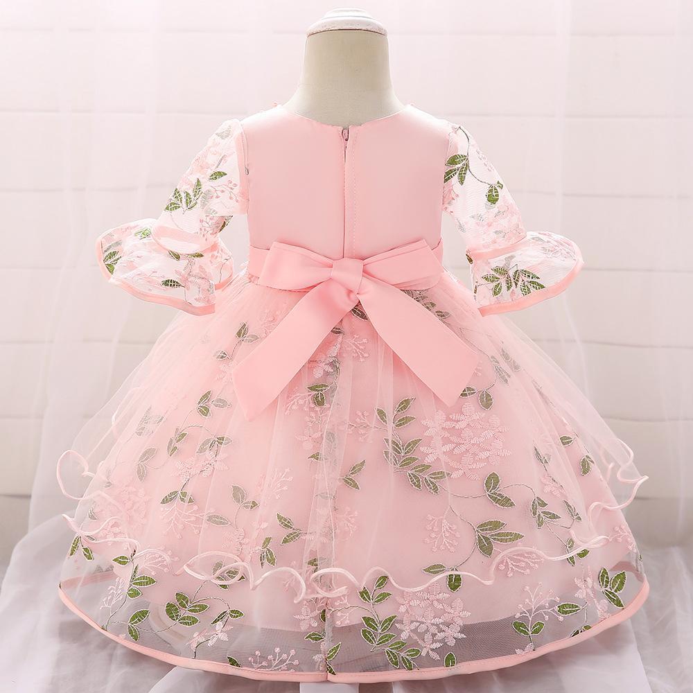 2020 Infant neonate Pizzo Abiti Fiore Vestiti battesimo Newborn Babies Battesimi Abbigliamento principessa tutu Abito da sposa di compleanno
