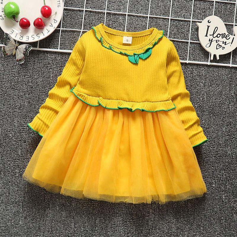 7eb3ce361 Buena calidad 2019 primavera otoño vestido de las niñas de moda de manga  larga vestido de princesa niños algodón praty vestidos niñas ropa casual