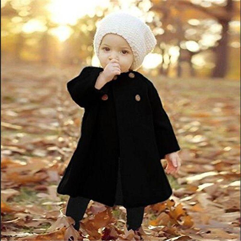 ce5bb9f9f AILEEKISS Autumn Spring Baby Girls Jackets Clothes Long Woolen Windbreaker  Kids Princess Cloak Button Outwear For Girls Coats 6M Toddler Boy Leather  Jacket ...