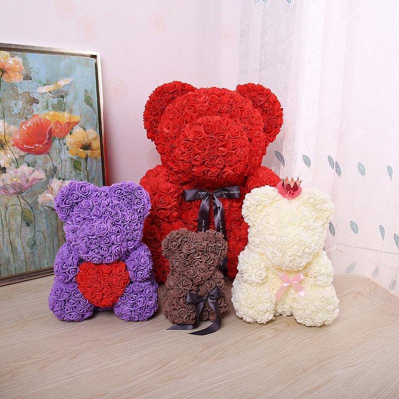2019 2316cm Rose Bear Pe Flower For Wedding Valentine Day Gift Bear