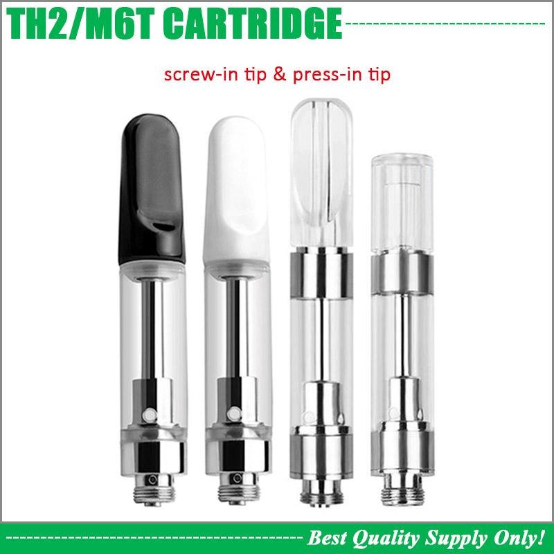Ceramic Tip TH205 Cartridge Heavy Hitters Thick Oil Ceramic Coil Pyrex  Glass Tank 510 Vape Carts 100% Non Leaking