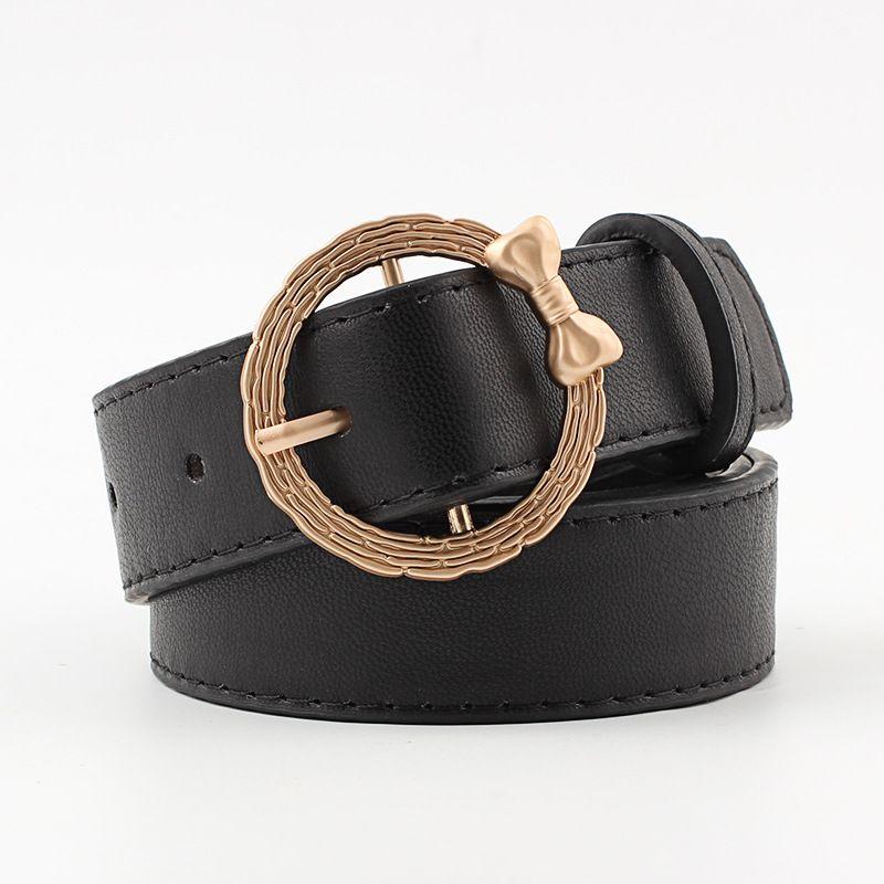 c30a5ec735c87 New Gold Round Metal Circle Belt Female Gold Bowknot Black White PU ...