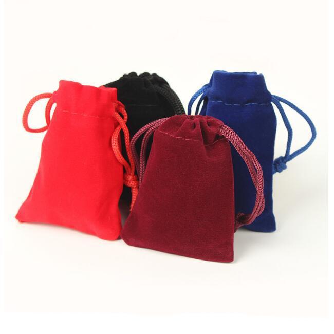 100 шт./лот 5x7, 7x9, 8x10, 10x12 см черный / синий/красный / красное вино шнурок бархат сумки мешки ювелирные изделия сумки подарочная упаковка мешок