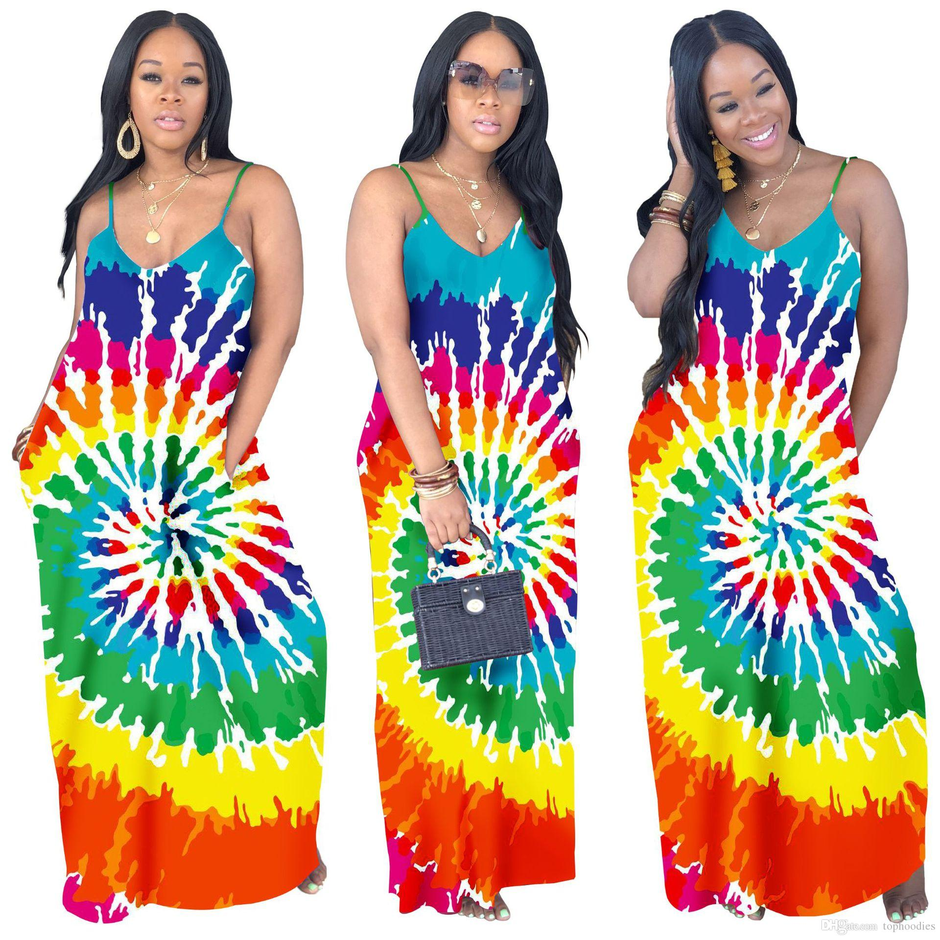 cd73b45337853 Rainbow Tie Dye Sexy Boho Beach Dresses Women Spaghetti Strap Backless Long  Maxi Dress Summer V Neck Sleeveless Plus Size Dress