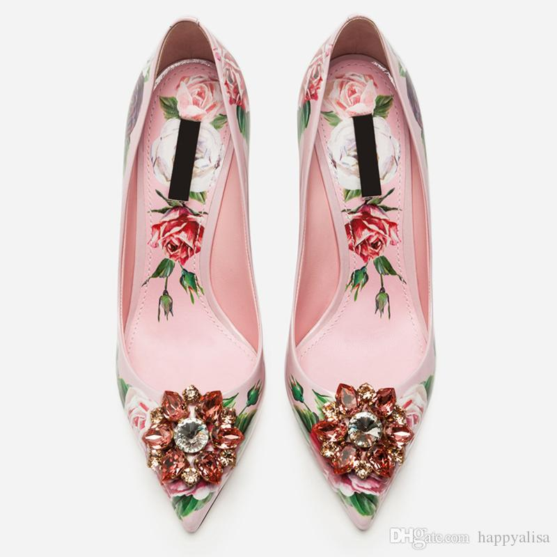 2019 Spring Brand Women Pumps Pointed Toe Woman Stiletto High Thin Heels Flower Pattern Party Runway Star Shoes Woman Crystal Decor