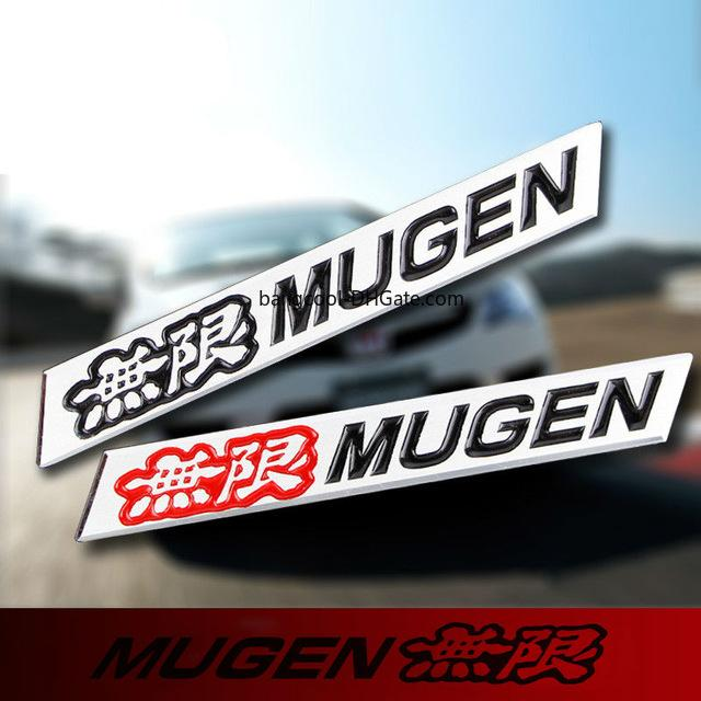 Car Style 3D Black/Red Aluminum Mugen Emblem Chrome Red Logo Rear Badge Car Trunk Sticker