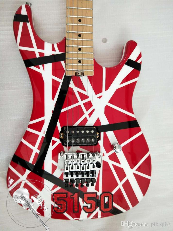 Custom shop custom electric guitar, maple fingerboard, black and white red stripe, 22 scale, one electronic, one pickup, trill system, silve