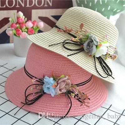 347a7fe499913 6 Colors Children s Straw Hat Summer Fashion Mother and Saughter Parent- Child Flower Bow Sun Shade Beach Hat Ladies Holiday Fisherman Hat Z1