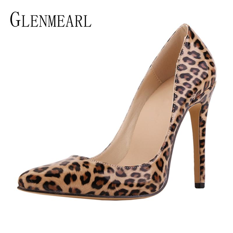 332952a7692d Women Pumps Leopard Shoes High Heels Sexy Pointed Toe Wedding Shoes Woman  Stiletto Heel Office Lady Dress Shoes Casual Evening Brown Shoes Strappy  Heels ...