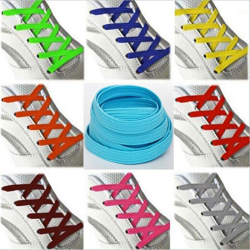 f0ec4f9f0e2b 2019 High Quality Elastic Stretching Locking No Tie Lazy Shoelaces Unisex Flat  Shoe Lace Kids Elastic Rubber Shoelace 100 Cm From Ajshoesfactory