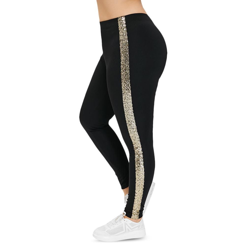 Plus Size High Waist Pant Leggings Women Side Stripe Sequin Pants Black Skinny Elastic Fitness Leggings Casual Lady Trousers Q190419