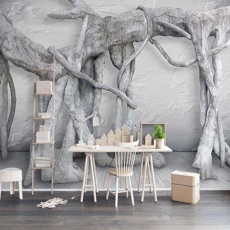 Personnalisé Mur Papier Peint Moderne Simple 3d Art Noir Et Blanc Forêt Arbre Salon Salon Tv Fond Décor Papier Peint Peinture