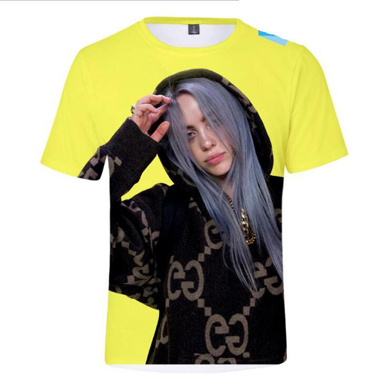 7548b71d Music Singer Star Billie Eilish 3D Print Cool Funny T Shirt Summer Tops  Unisex Oversized Men And Women Graphic T Shirts Hipster Party T Shirts  Collared T ...