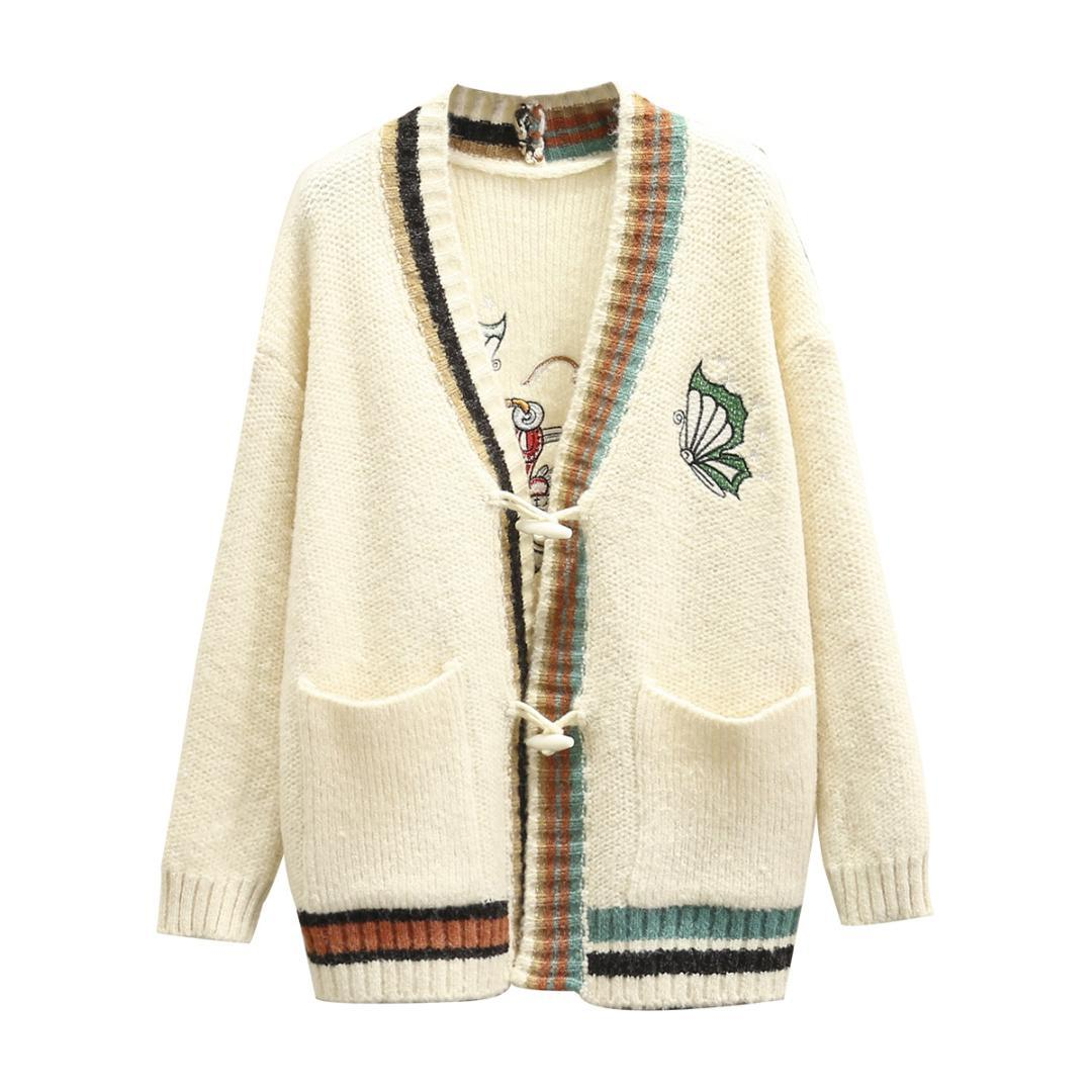 A2 Autumn Winter Casual Sweaters Plus Size Women Clothing Fashion Loose  Horn Button Embroidery Butterfly Knitting Cardigans 049 UK 2019 From  Sincha adf139ae0
