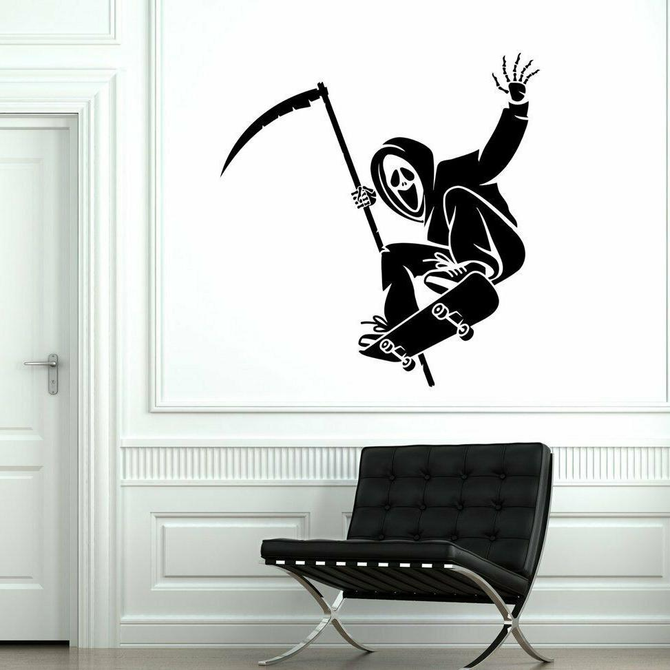 Skateboard Dead Street Sport Funny Living Room Home Wall Decor Art Sticker Black