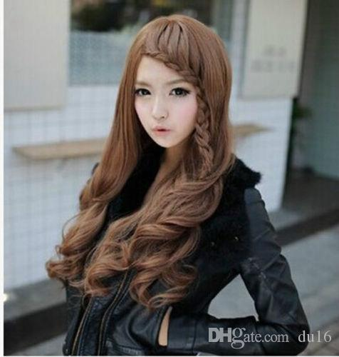 01267 free shipping Newest with long hair braids realistic oblique bangs wig