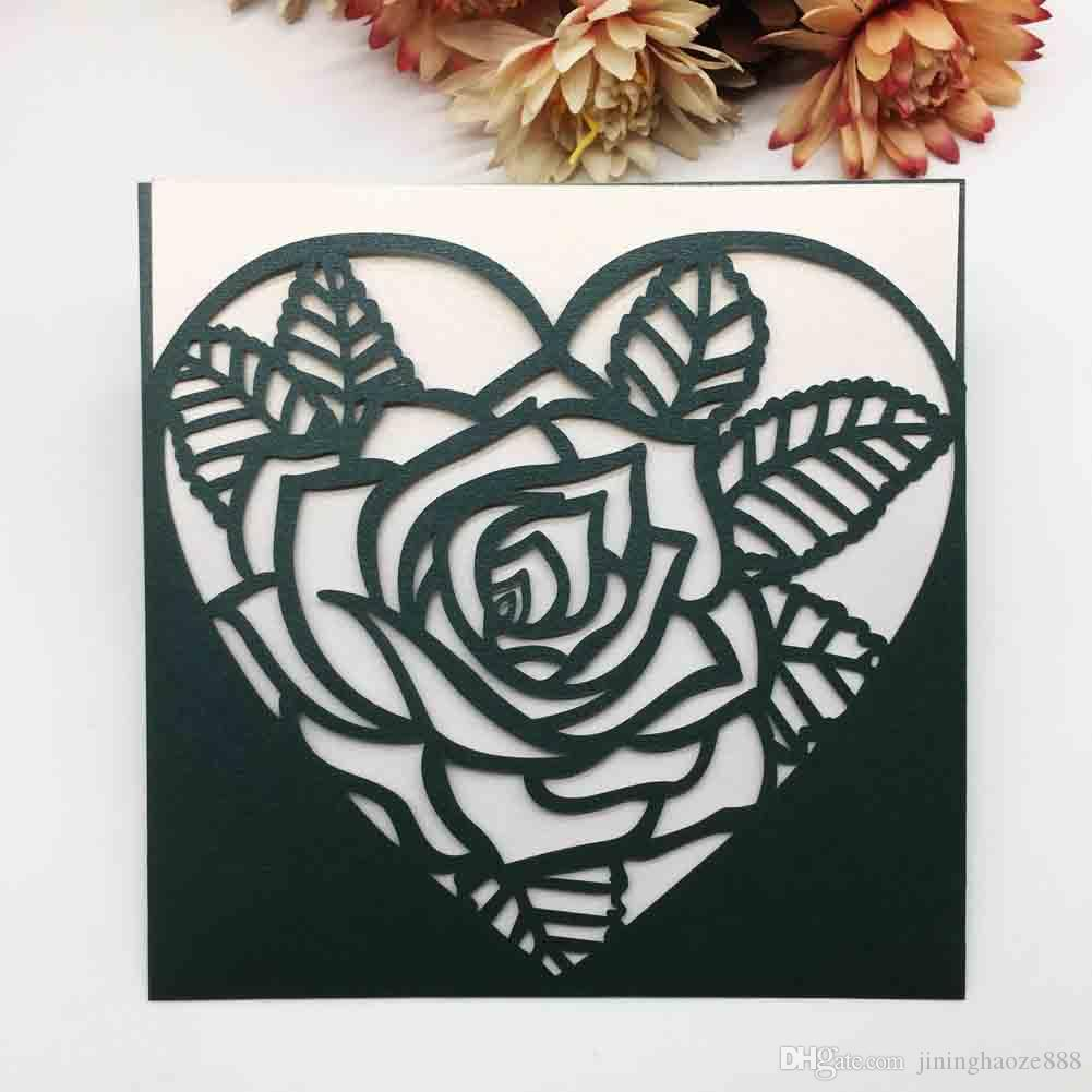 Hollow Laser Cut Wedding Invitations Cards Exquisite Rose Flowers In The Heart Design With Cards Supplies Grand Events Invitations Cards