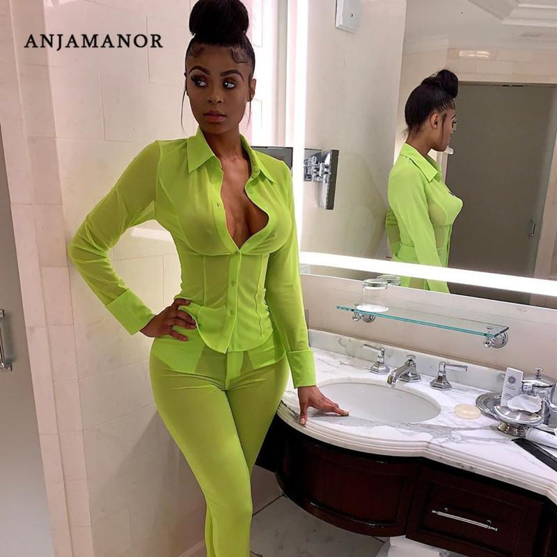 ANJAMANOR Neon Green Mesh Sexy Two Piece Set Top and Pants Matching Sets Autumn 2019 Women Clothes Sets Club Outfits D30-AF31 Y190921