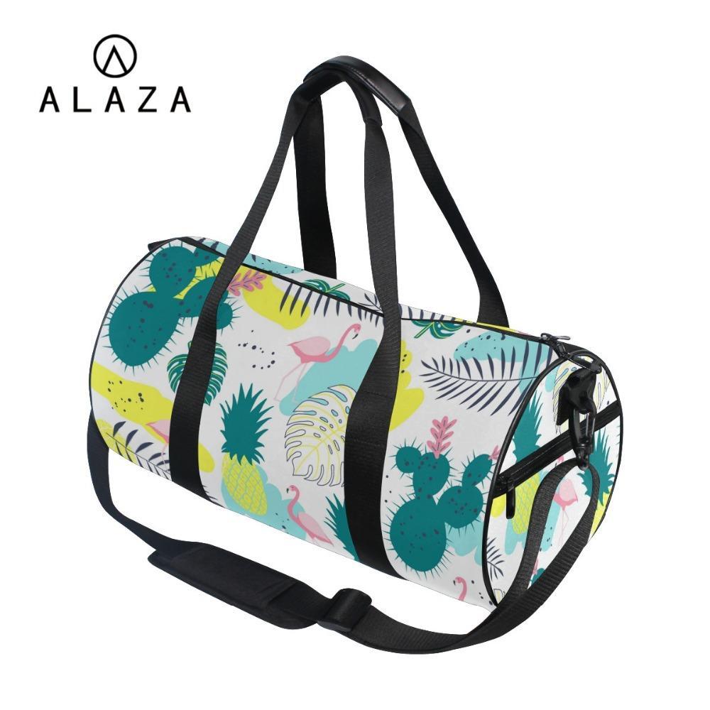 4582e981dc31 ALAZA Pink Flamingo Crossbody Shoulder Bag Cartoon Women Travel Book Bag  Large Storage Tote Handbag Black Straps Name Brand Purses Overnight Bags  From Lusta ...