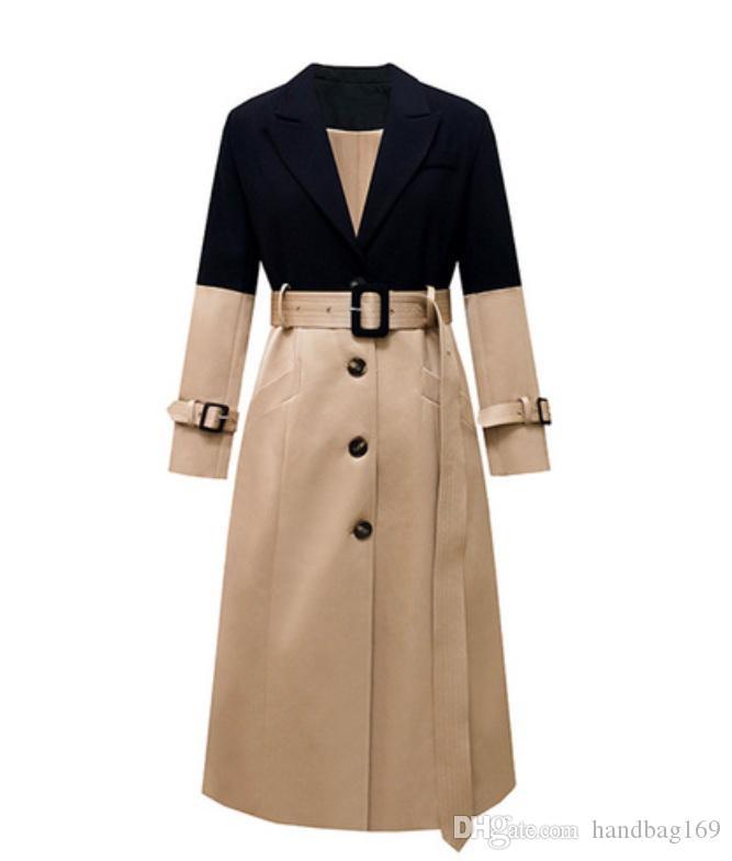 Tops para mujer cazadora y blusas largos de la capa Escudo foso de las mujeres para las mujeres empalmado Calle capa de las mujeres