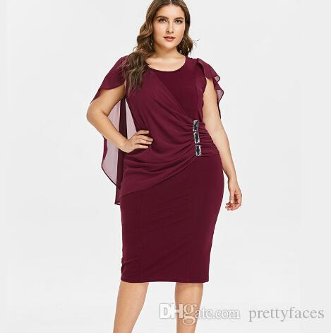 96e590758ba89 Plus Size 5XL Capelet Knee Length Fitted Party Dress Women Sleeveless Scoop  Neck Sheath Dress Rhinestone Overlay Vestidos