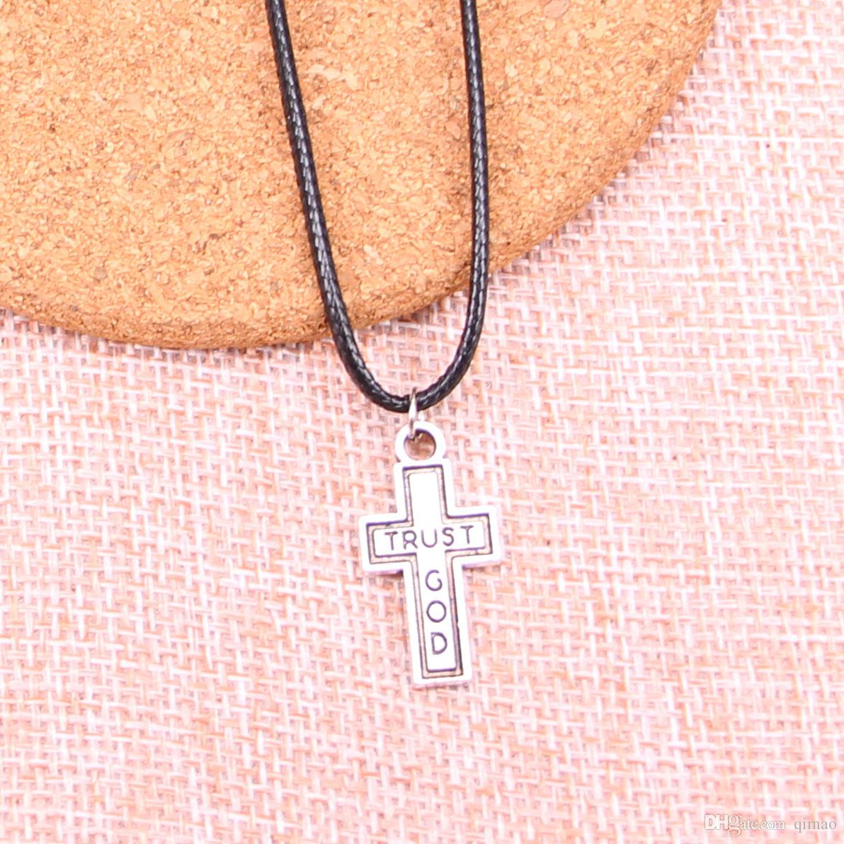New Durable Black Faux Leather Antique Silver 24*13mm cross trust god Pendant Leather Chain Necklace Vintage Jewelry Dropshipping