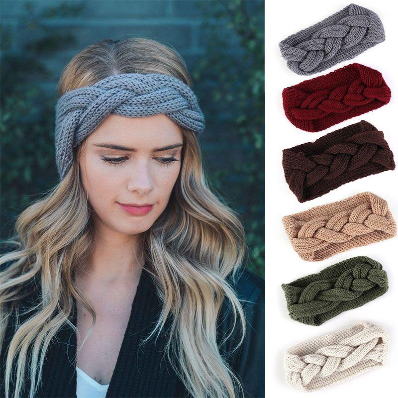 Winter Women Knitted Headband Ear Warmer Solid Braid Headwrap Wide Stretch  Turban Lady Crochet Big Bow Hairband Hair Accessories Kids Birthday Party  Hats ... f7e01cc35539