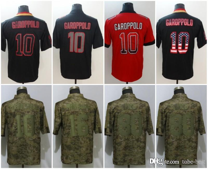 c960ae35b 2019 San Francisco 10 Jimmy Garoppolo Jerseys 16 Joe Montana 80 Jerry Rice  49ers 2018 Salute To Service USA Flag Lights Out Black Rush Drift From Tobe  Best