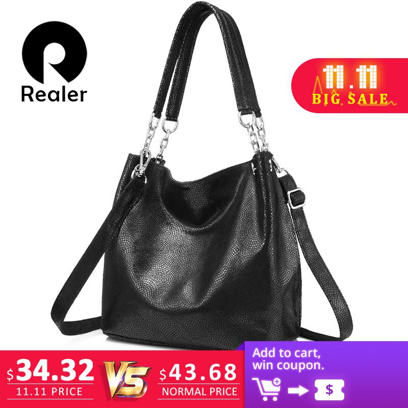 a2e79a05c537 2019 Fashion REALER Genuine Leather Handbags Female Large Messenger Bag  Women Shoulder Bags Fashion Ladies Top Handle Bags High Quality Canada 2019  From ...