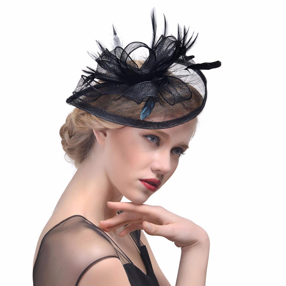 Women Wedding Hat Fascinator Feather Mesh Party Cocktail Headdress Hair  Clip New Hair Bands Women Womens Hair Bows From Burnell f82723ce770