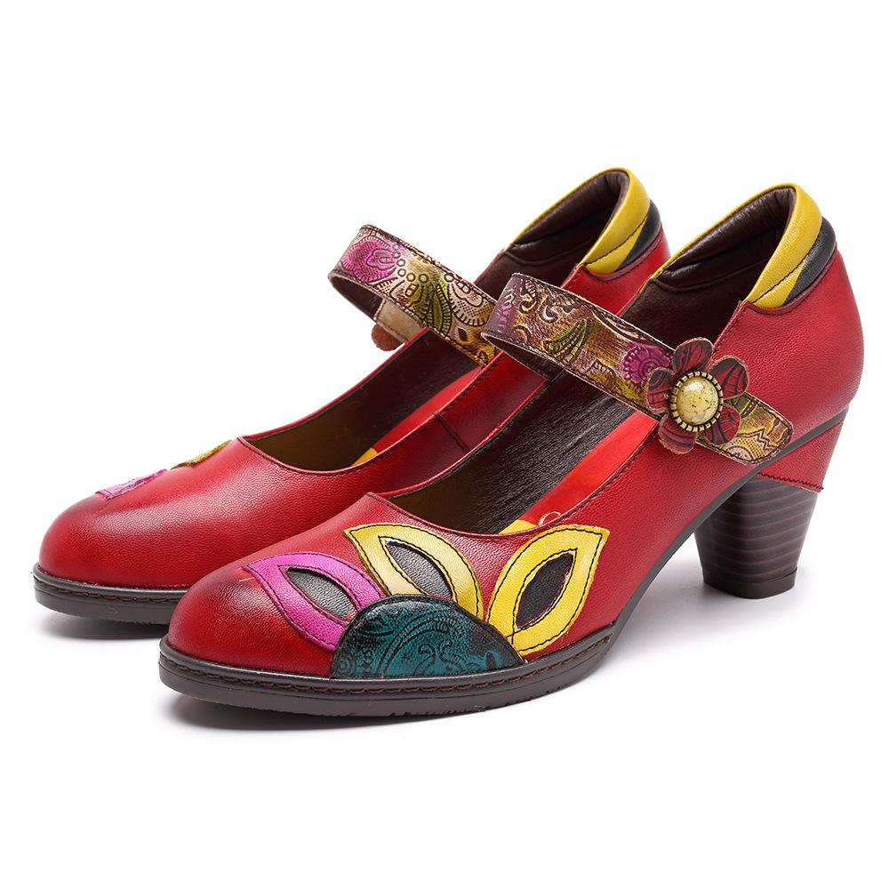 De Hojas A Plantas Maryjane Zapatos Totem Sandalias Cuero Hechos Tacón Mano QsdCtrxh